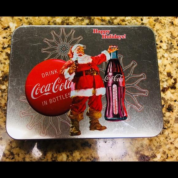 COCA COLA COKE SODA HOLIDAY  SANTA CLAUS DESIGN LIM ED PLAYING CARDS 2 DECKS TIN